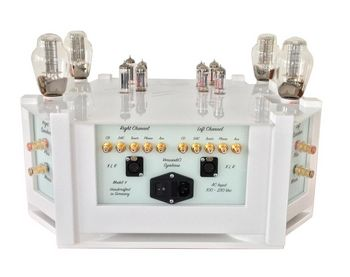 Tube amplifier with sophisticated and modern design for a musical and visual experience.